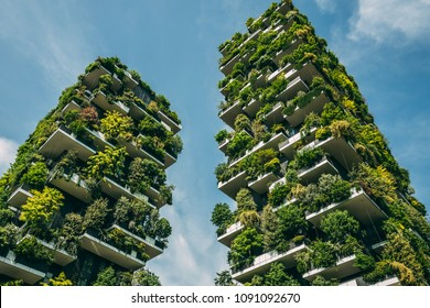 MILAN - ITALY/MAY 2018: Bosco Verticale, the innovative architecture design