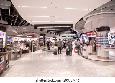 MILAN, ITALY-MAY 29,2015: airport duty free of Malpensa airport, in Milan.