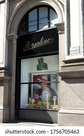 MILAN, ITALY-MAY 9, 2020:  Borsalino hats shop window, elegant style icon, luxury brand in Vittorio Emanuele Gallery, . Lombardy.