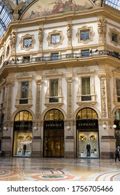MILAN, ITALY-MAY 9, 2020: Versace shop in empty Gallery of Vittorio Emanuele, closed shop during coronavirus epidemic period. Second phase of quarantine in Lombardy.