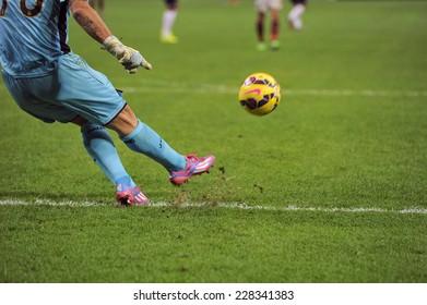 MILAN, ITALY-NOVEMBER 02, 2014: soccer goalkeeper kicks the ball during the italian serie A soccer match AC Milan vs Palermo, at the san siro stadium, in Milan.