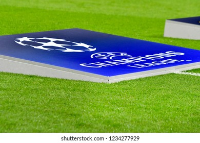MILAN, ITALY-NOVEMBER 06, 2018: UEFA Champions League's logo on the san siro soccer stadium's grass field, in Milan.