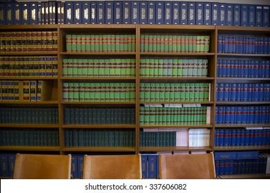 MILAN, ITALY-NOVEMBER 07, 2015: Legal office bookcase in Milan.