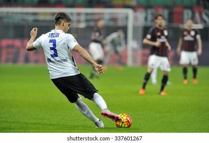 MILAN, ITALY-NOVEMBER 07, 2015: Soccer player Toldi kicks the ball during the italian soccer match AC Milan vs Atalanta at the San Siro stadium, in Milan.