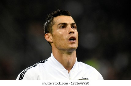 MILAN, ITALY-NOVEMBER 11, 2018: FC Juventus's portoguese soccer player Cristiano Ronaldo portraited at the san siro soccer stadium before the italian match AC Milan vs Juventus FC, in Milan.