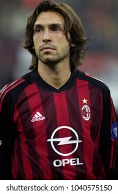 MILAN, ITALY-NOVEMBER 13, 2002. famous AC Milan soccer player Andea Pirlo, portraited at the San Siro soccer stadium, in Milan.