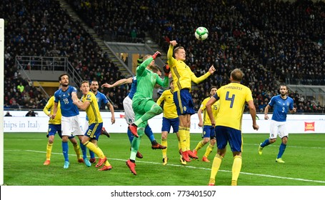 MILAN, ITALY-NOVEMBER 13, 2017: world cup 2018 european qualifiers soccer match Italy vs Sweden, at san siro stadium, in Milan.