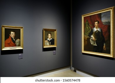 """MILAN, ITALY-NOVEMBER 13, 2019: Antonio Canova's painting portraits displayed at the art exhibition: """"Canova-Thorvaldsen the birth of the modern sculpture""""; at Le Gallerie d'Italia,  in Milan."""