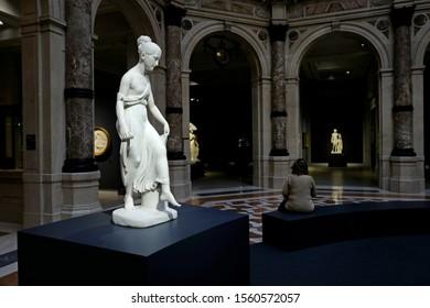 "MILAN, ITALY-NOVEMBER 13, 2019: ""Canova-Thorvaldsen the birth of the modern sculpture"", Carrara's white marble sculptures exhibition, at Le Gallerie d'Italia,  in Milan."