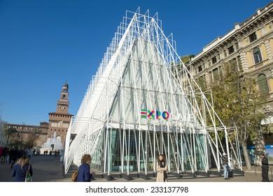 MILAN, ITALY-NOVEMBER 19, 2014: white building EXPO 2015 gate in piazza Castello, in Milan.
