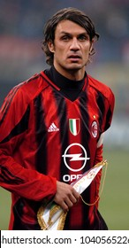 MILAN, ITALY-NOVEMBER 24, 2004. famous AC Milan soccer player and captain Paolo Maldini, portraited at the San Siro soccer stadium, in Milan.