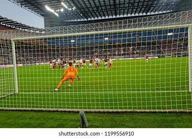 MILAN, ITALY-OCTOBER 04, 2018: panoramic view of the soccer san siro stadium, seen from behind the goal post, during the UEFA League match AC Milan vs Olimpiacos, in Milan.