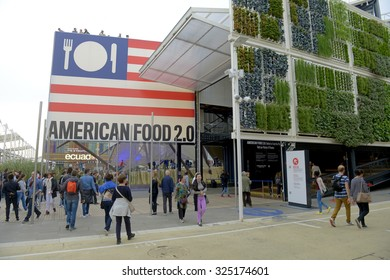 MILAN, ITALY-OCTOBER 05, 2015: food logo on the USA pavillion at EXPO 2015, food is the main topic of the italian edition, in Milan.