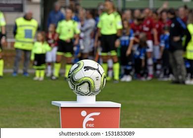 MILAN, ITALY-OCTOBER 13, 2019: Puma official soccer ball of the italian female soccer match Inter Milan vs AC Milan of league Serie A, in Milan.
