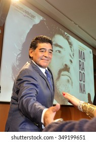 MILAN, ITALY-OCTOBER 17, 2013: argentinian former soccer player Diego Armando Maradona, one of the most famous soccer player ever, during a press conference, in Milan.