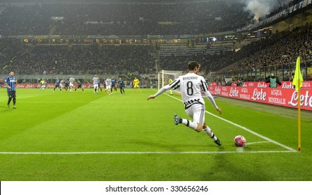MILAN, ITALY-OCTOBER 18, 2015: soccer claudio marchisio player kicks a corner during the italian professional soccer match FC Internazionale vs FC Juventus, at San Siro stadium, in Milan.