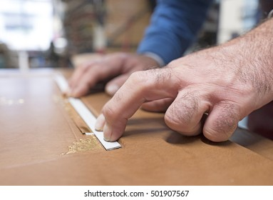 MILAN, ITALY-OCTOBER 19, 2016: bindery table work, in Milan.