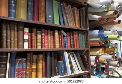 MILAN, ITALY-OCTOBER 19, 2016: paper books on a bindery workshop, in Milan.