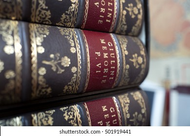 MILAN, ITALY-OCTOBER 19, 2016: vintage books covers on a bindery workshop, in Milan.