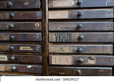 MILAN, ITALY-OCTOBER 19, 2016: wooden drawers on a vintage bindery workshop, in Milan.