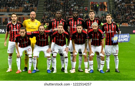 MILAN, ITALY-OCTOBER 25, 2018: AC Milan soccer players team photo during UEFA League match AC Milan vs Real Betis at the san siro soccer stadium, in Milan.