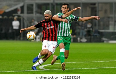 MILAN, ITALY-OCTOBER 25, 2018: soccer players action during UEFA League match AC Milan vs Real Betis at the san siro soccer stadium, in Milan.