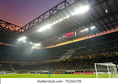 MILAN, ITALY-OCTOBER 28, 2017: panoramic view with sunset over the san siro soccer stadium, during the italian serie a match AC Milan vs FC Juventus, in Milan.