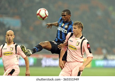 MILAN, ITALY-OCTOBER 29, 2009: african soccer player Samuel Eto'o in action during the italian serie A soccer match FC Internazionale vs Palermo, at the san siro stadium,  in Milan