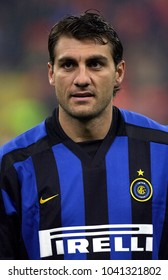 MILAN, ITALY-OCTOBER 30, 2002: FC Internazionale's italian famous soccer player Christian Vieri, portraited during the Italian League Serie A, at the San Siro soccer stadium, in Milan.