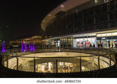 MILAN, ITALY-OCTOBER 30, 2016: Financial district night view. Modern skyscrapers in Gae Aulenti square. Unicredit bank tower