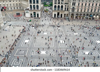 MILAN, ITALY-SEPTEMBER 06, 2018: panoramic top view of the Duomo square, in Milan.