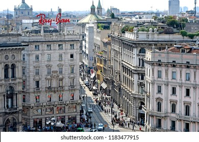 MILAN, ITALY-SEPTEMBER 06, 2018: top view of Torino street  and Duomo square, in Milan.