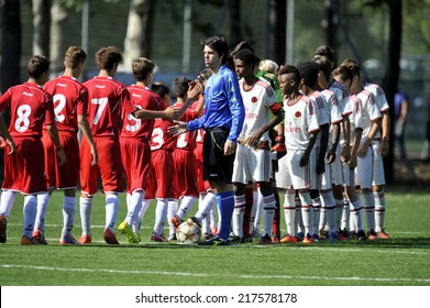 MILAN, ITALY-SEPTEMBER 13, 2014: AC Milan and Varese youth soccer players during their match at the Vismara center, in Milan.