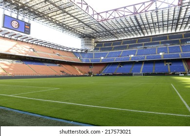 MILAN, ITALY-SEPTEMBER 14, 2014: panoramic view of the empty San Siro stadium, after the Serie A professional soccer match Inter vs Sassuolo, in Milan.