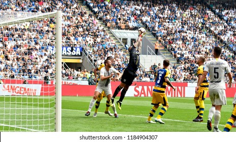 MILAN, ITALY-SEPTEMBER 15, 2018: soccer players action during the Serie A match FC Internazionale vs Parma, at the san siro stadium,
