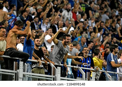 MILAN, ITALY-SEPTEMBER 18, 2018: FC Internazionale's soccer fans celebrations after win, during the UEFA Champions League match FC Internazionale vs Tottenham Hotspurs at the san siro stadium,