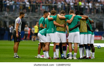 MILAN, ITALY-SEPTEMBER 18, 2018: Tottenham Hotspurs soccer's players embrace to concentrate before the UEFA Champions League match FC Internazionale vs Tottenham Hotspurs at the san siro stadium,