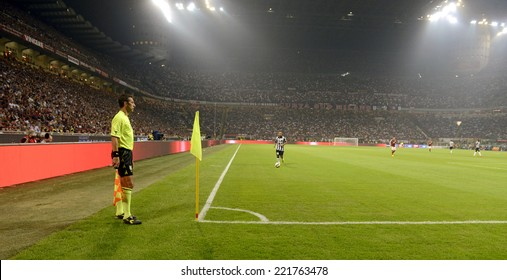 MILAN, ITALY-SEPTEMBER 20, 2014: san siro stadium panoramic view from the pitch during the italian serie A soccer match AC Milan vs FC Juventus, in Milan.
