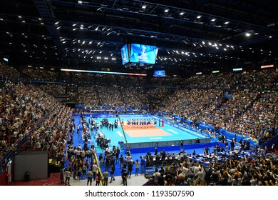 MILAN, ITALY-SEPTEMBER 21, 2018: panoramic top view of the indoor sports arena Forum, during the Volleyball Men's World Championship, in Milan.