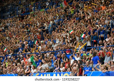 MILAN, ITALY-SEPTEMBER 24, 2018: Italian fans cheering during the Volleyball Men's World Championship Italy and Bulgaria 2018, at the indoor Forum arena, in Milan.