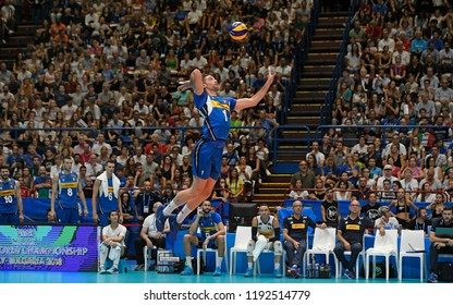 MILAN, ITALY-SEPTEMBER 24, 2018:  Volleyball Men's World Championship Italy and Bulgaria 2018, Italy vs Netherlands, at the Forum indoor arena, in Milan.