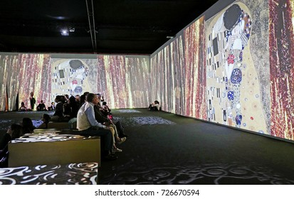 MILAN, ITALY-SEPTEMBER 27, 2017: Klimt experience, multimedia art exhibition of the famous Austrian painter, in Milan.