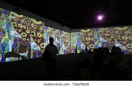 MILAN, ITALY-SEPTEMBER 27, 2017: Klimt experience, multimedia art exhibition of the famous Austrian painter, in Milan.