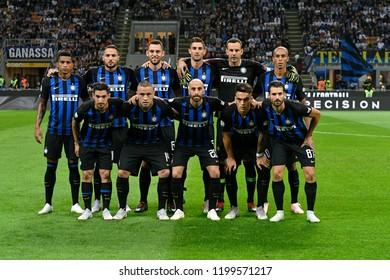 MILAN, ITALY-SEPTEMBER 29, 2018: F.C. Inter Milan soccer team photo at the san siro soccer stadium , in Milan.