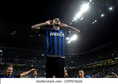 MILAN, ITALY-SEPTEMBER 29, 2018: F.C. Inter Milan soccer player Mauro Icardi celebrates after score a goal, at the san siro soccer stadium , in Milan.