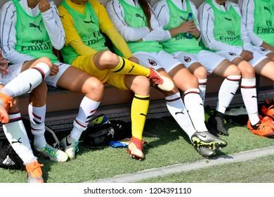 MILAN, ITALY-SEPTEMBER 30, 2018: AC Milan's female soccer team players on the bench the italian match AC Milan vs Fiorentina, in Milan.
