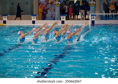 MILAN, JANUARY 10: Syncro Team  BPM Sport Management performing  Free Combination during the Synchronised Swimming Open   on January 10, 2015 , Milan( Italy).