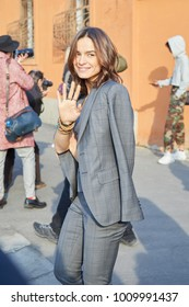 MILAN - JANUARY 14: Actress Kasia Smutniak seen after Dsquared 2 fashion show, Milan Fashion Week street style on January 14, 2018 in Milan.