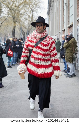 ec9fd4d14b7 MILAN - JANUARY 15  Man with red and white striped wool sweater and black  hat