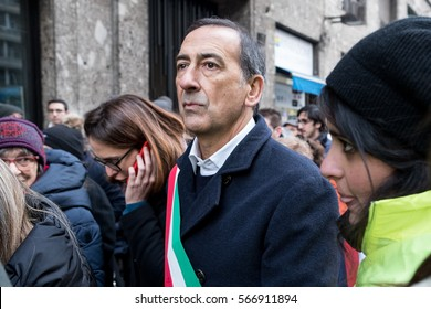 MILAN, JANUARY 28, 2017: The mayor of Milan, Giuseppe Sala, attends the human chain organized in the Day of Memory of the Shoah.